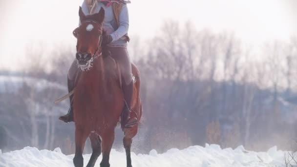 Langhaarige Reiterin reitet wild und schnell auf schwarzem Pferd durch den Schnee, Zeitlupe