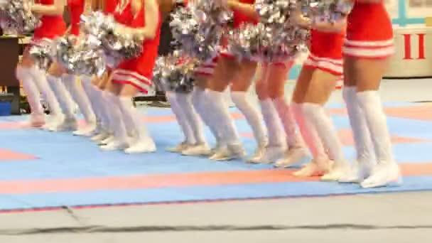 Legs of cheerleaders in red dresses dancing at the karate tornament