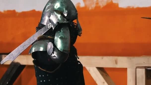 Knights training - men knightes having a training fight