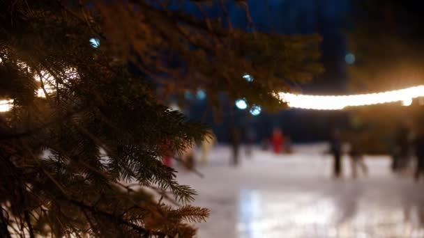People skating on the public ice rink while christmas outdoors