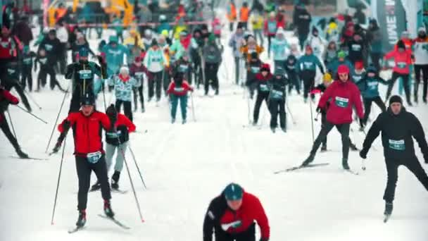 Russland, Kasan 08-02-2020: Skiwettkampf - Volkssportler am Start