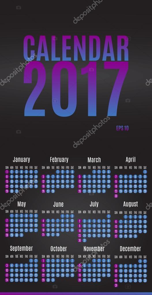 2017 Kalenderdesign Planer. Wand-Monatskalender für das Jahr ...