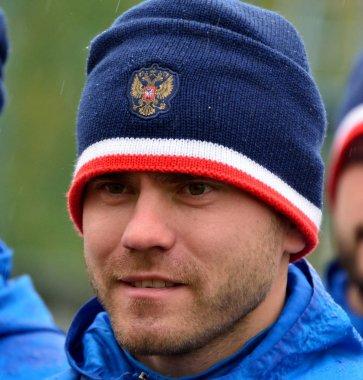 Russian international football goalkeeper Igor Akinfeev in train