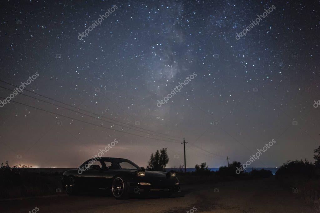 sport car under stars