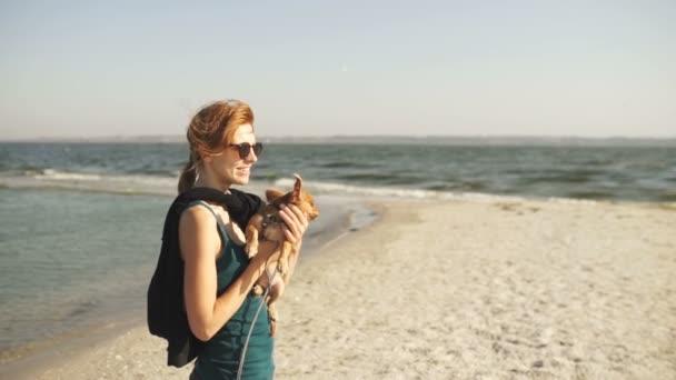 Mladí turistické žena chůze na ostrově s pes chihuahua. Ženské chůze na pláži na slunečný den