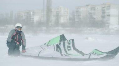ODESSA - March 1. People ride on winter snowkiting.Winter snowkiting on the winter field after snow storm in Odessa Ukraine
