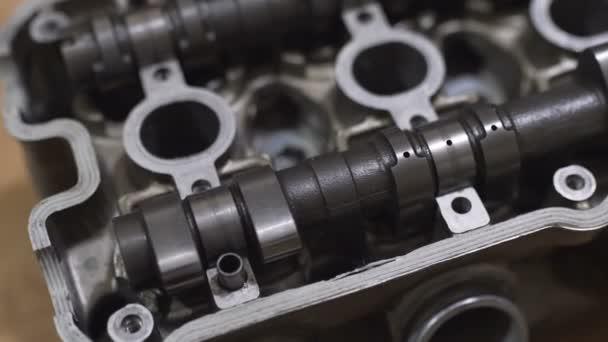 Hlava motoru, ventil, Vačková hřídel, z motocyklu nebo automobilu. Close-up shot