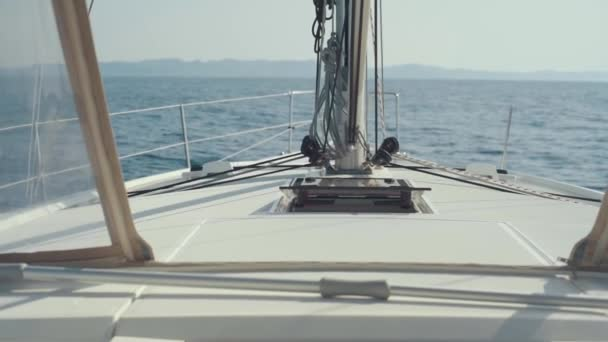 Incredibly beautiful view from luxury sail yacht. Yacht in Mediterranean Sea