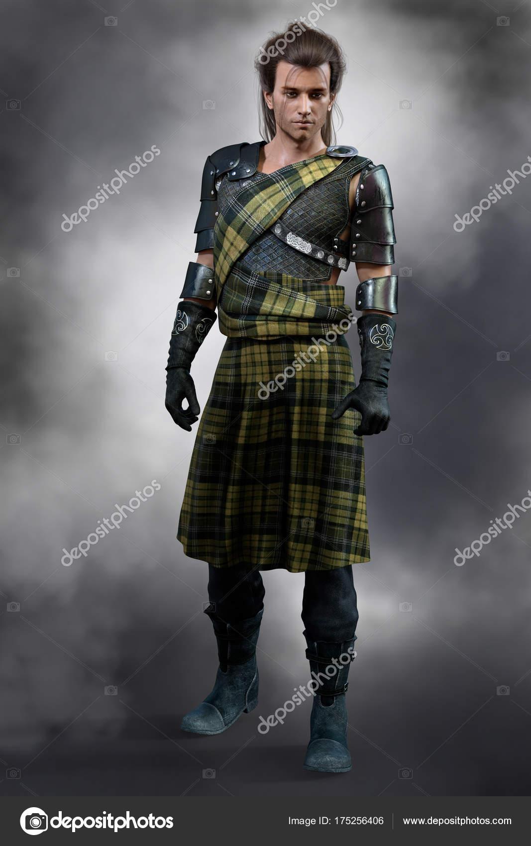 Traditionelle Schottische Romantik Highland Krieger Grünen Tartan Kilt Mit  Lederrüstung — Stockfoto