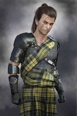 Moody Romantic Scottish Warrior Hero Man wearing stylised fictional traditional battle costume of Scotland
