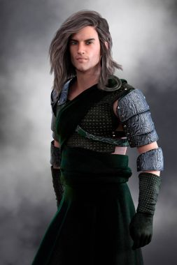 Handsome Scottish Highland Warrior in plain green kilt with seri