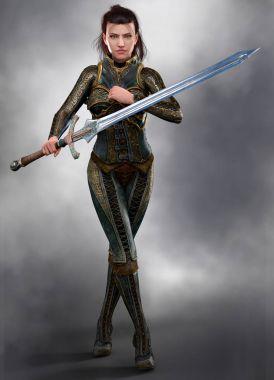 Beautiful brunette woman assassin warrior holding a sword CGI