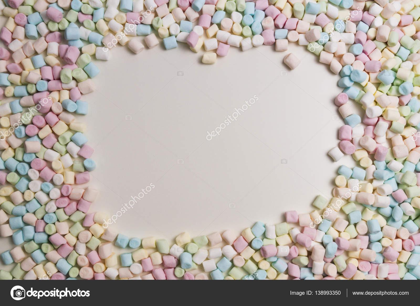 Bunte Mini Marshmallows Hintergrund Rahmen. Platz für Text kopieren ...