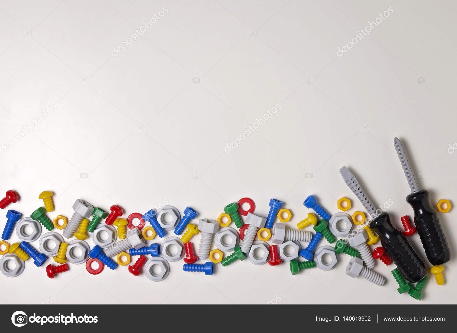 Marco de herramientas de construcción niños sobre fondo blanco ...