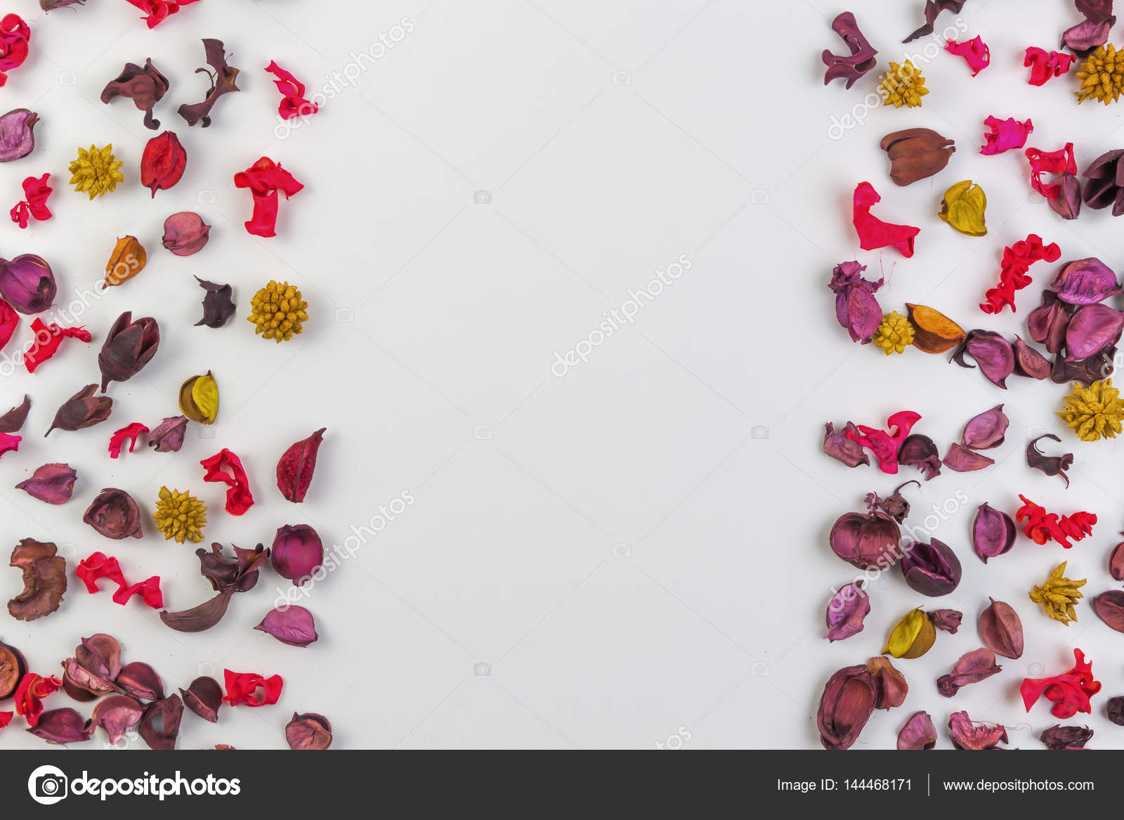 Dried Flowers Petals And Plants Border Frame On White Background