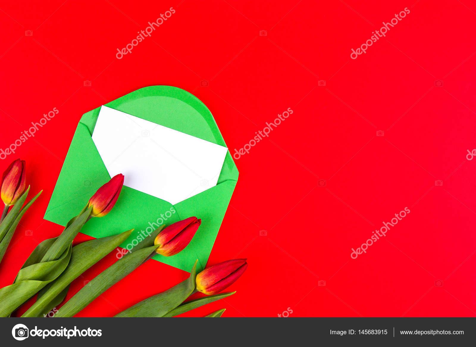 Tulipes Fleurs Et Enveloppe Verte Avec Carte Blanche Sur Fond Rouge