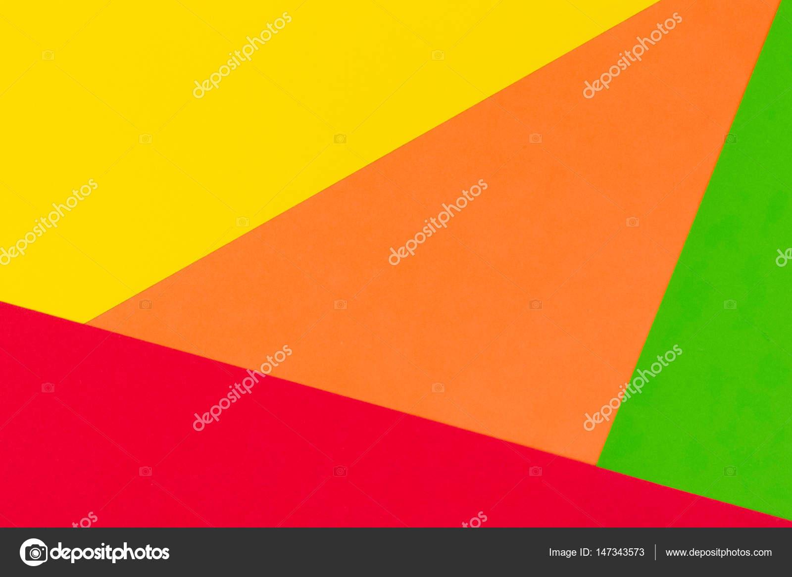 Fond de papier de couleur jaune, rouge, vert et orange ...
