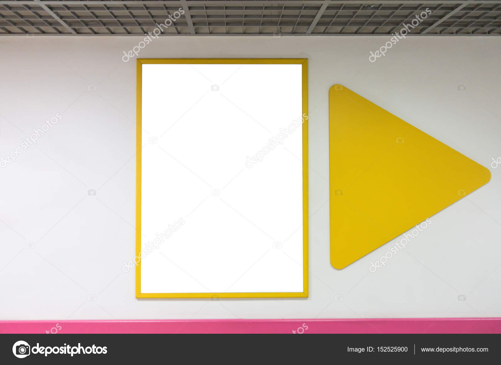 Mock up blank poster frame with yellow frames hanging on wall in ...