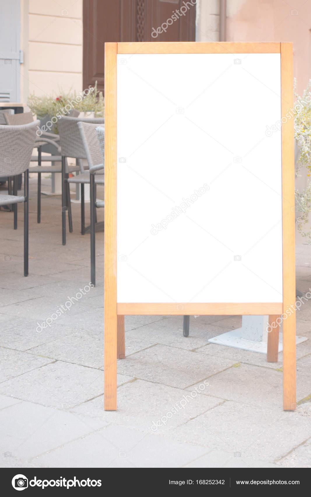 Letrero marco soporte en blanco menú cafetería, bar, restaurante al ...