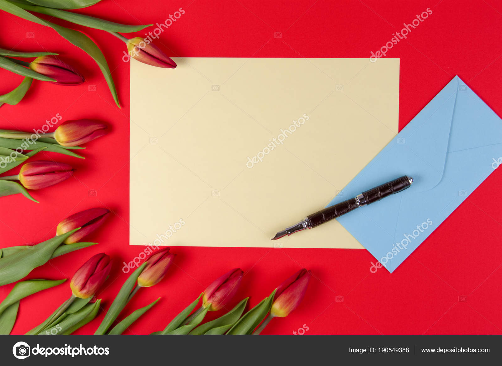 Blank Card Pen Blue Envelope And Red Spring Tulips Flowers On Red