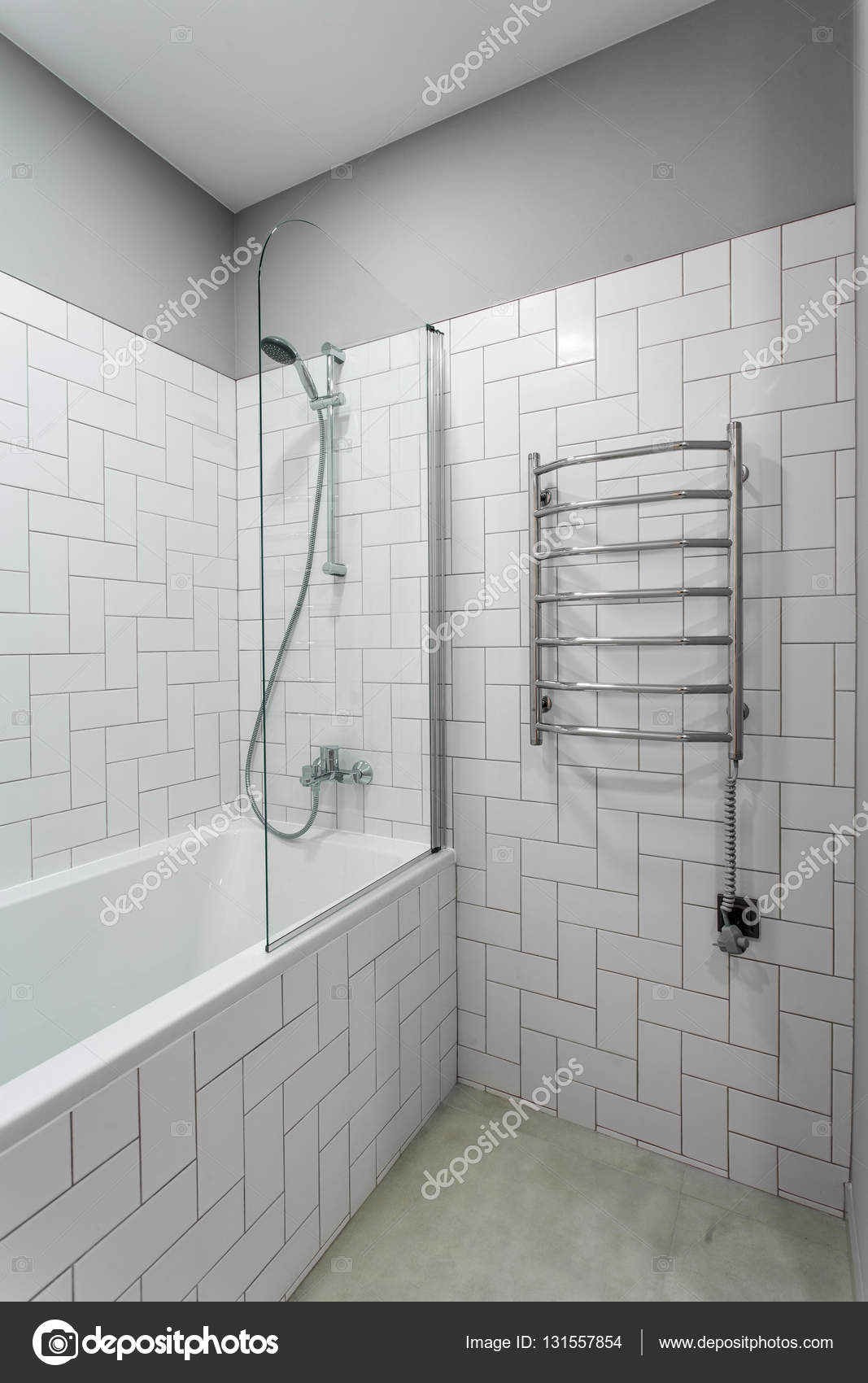 interior bathroom with heated towel rails, shower and bath — Stock ...