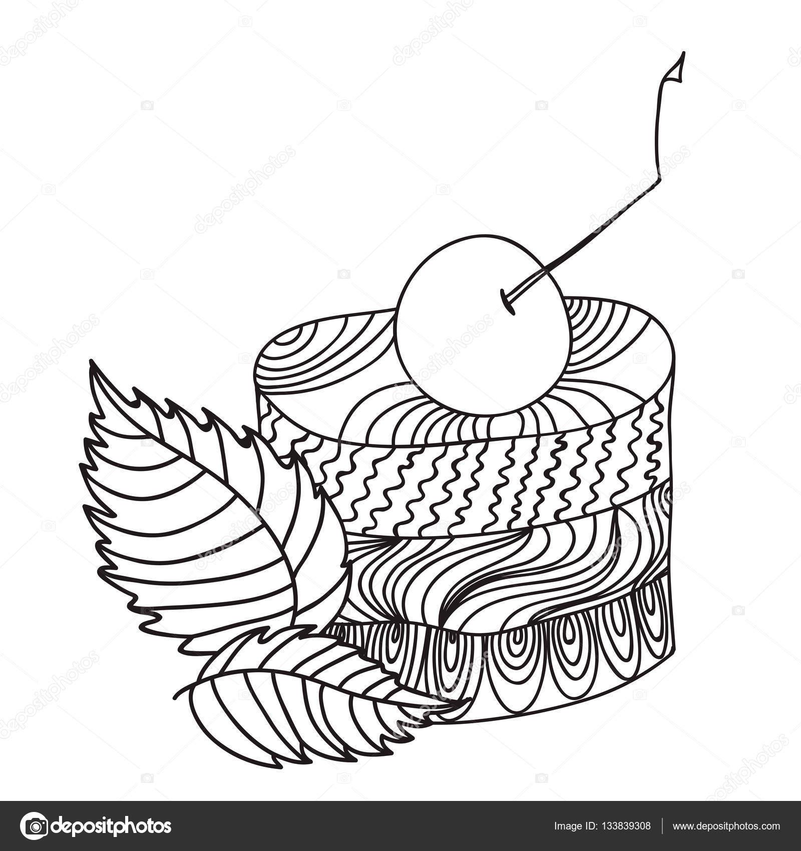 Torta Con Una Ciliegia E Menta Foglie Vettoriali Stock