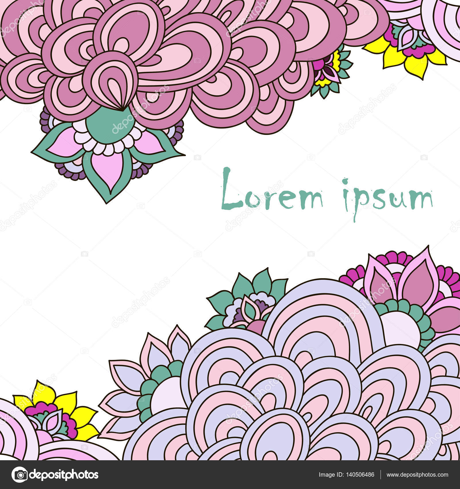 template for invitation with swirls and abstract flowers stock