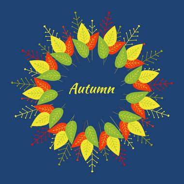 Autumn round frame of red, yellow, green, orange decorative leaves and branches on a blue background. Vector
