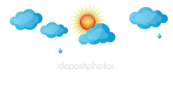 Déšť, slunce, oblaka, tráva, jaro, video