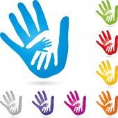 Drei Hände zusammen, Menschen und Familienlogo