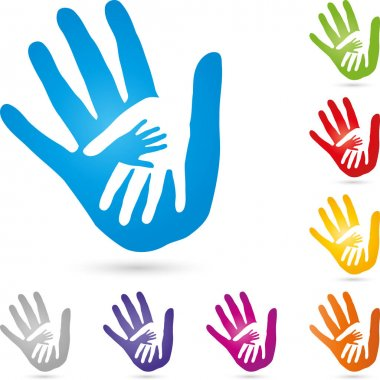 Three hands together, people and family logo