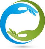 Fotografia Due mani nel logo verde e blu, massaggi e fisioterapia