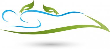 Person and two hands, massage and wellness logo