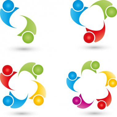 People, abstract, group and team logos