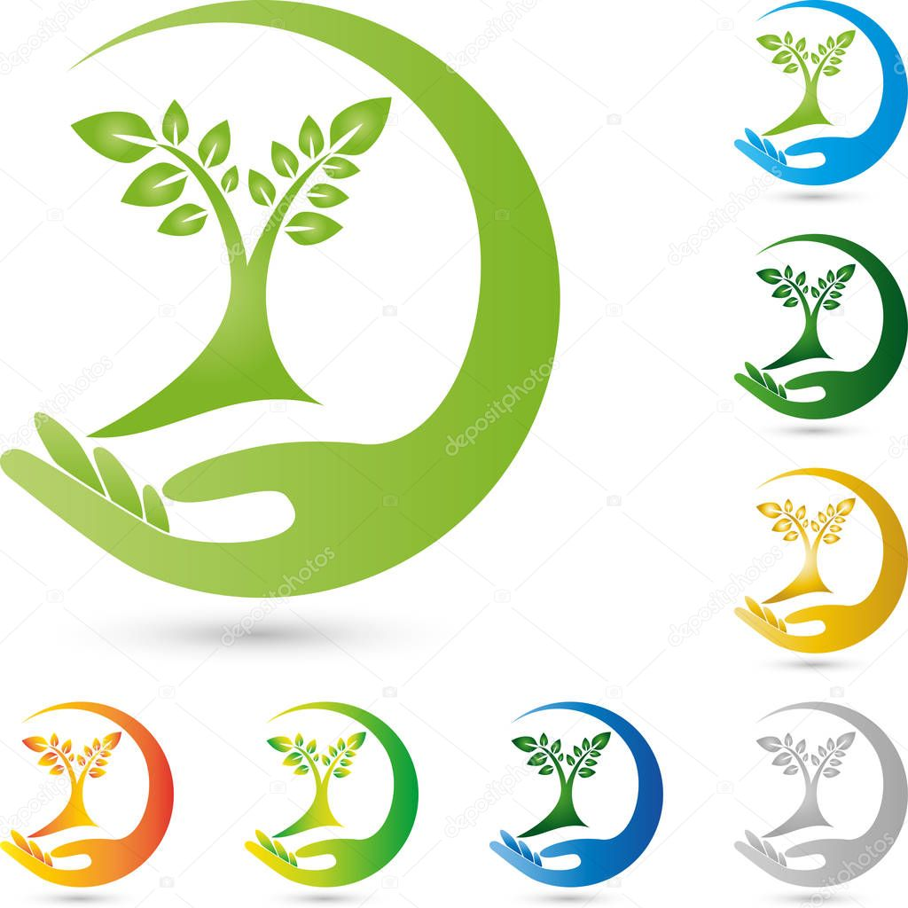 Tree, plant and hand, gardener and nature logo