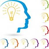 Fotografia Logo di testa e lampada, idea ed elettricista di persona
