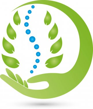 Two hands and leaves, orthopaedist and naturopathic logo
