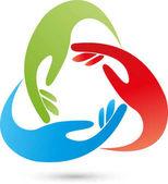 dreihändig, farbig, Team- und Familienlogo