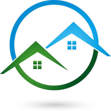 Two houses, roofs and circle, Colored, real estate and roofing logo
