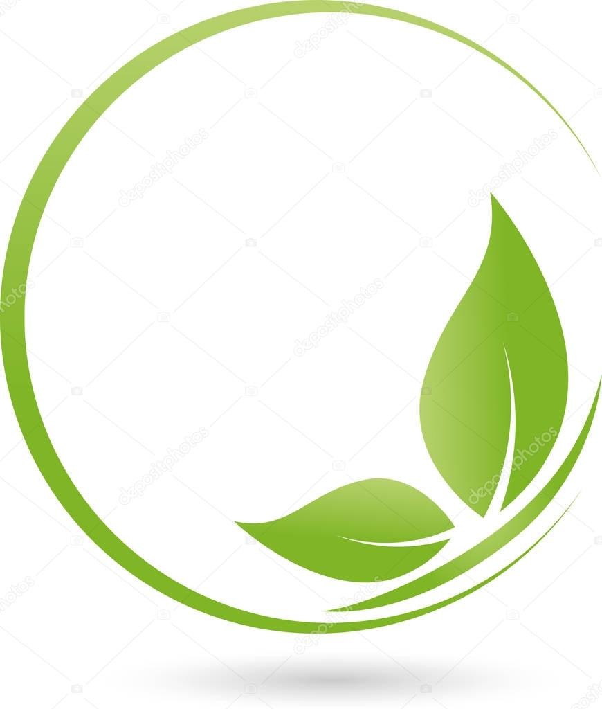 Butterfly from leaves, nature and wellness logo
