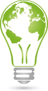 Lamp and globe, green energy, eco energy, logo