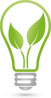 Lamp and leaves, green energy, eco energy, logo
