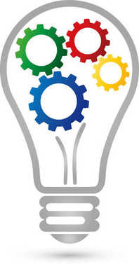 Lamp, gears, idea, logo