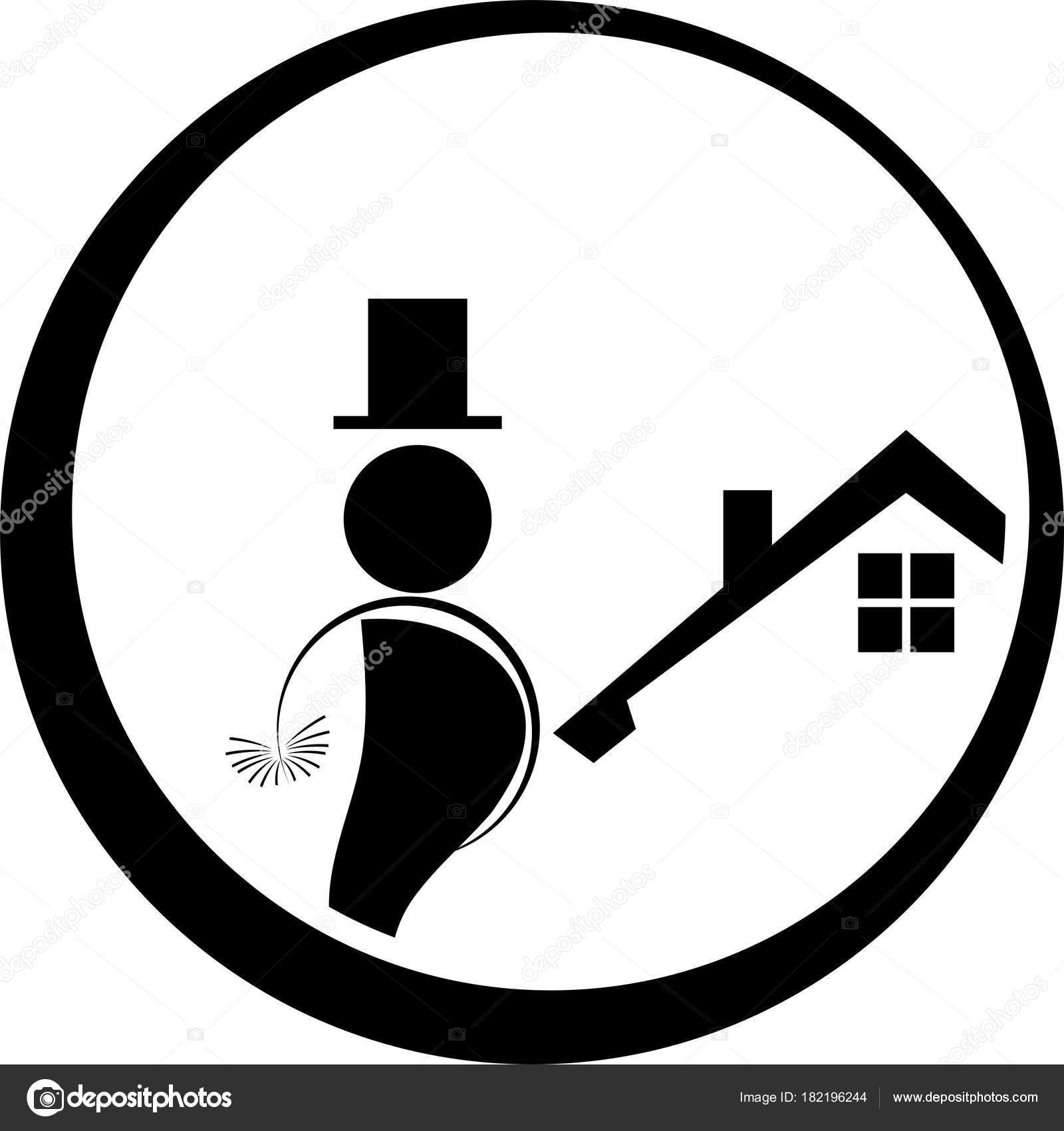 chimney sweep logo man person profession stock vector waldemar
