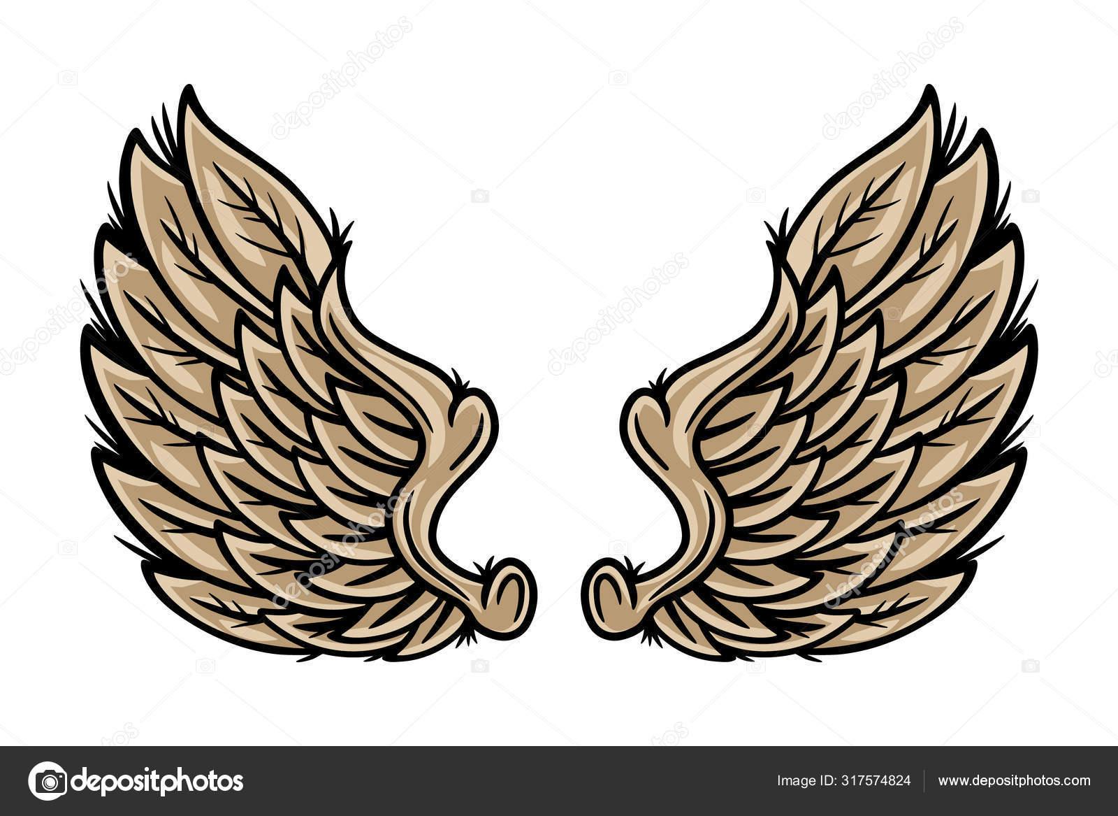 Desenhos Retro Coloridos Anjos E Pássaros Ilustração