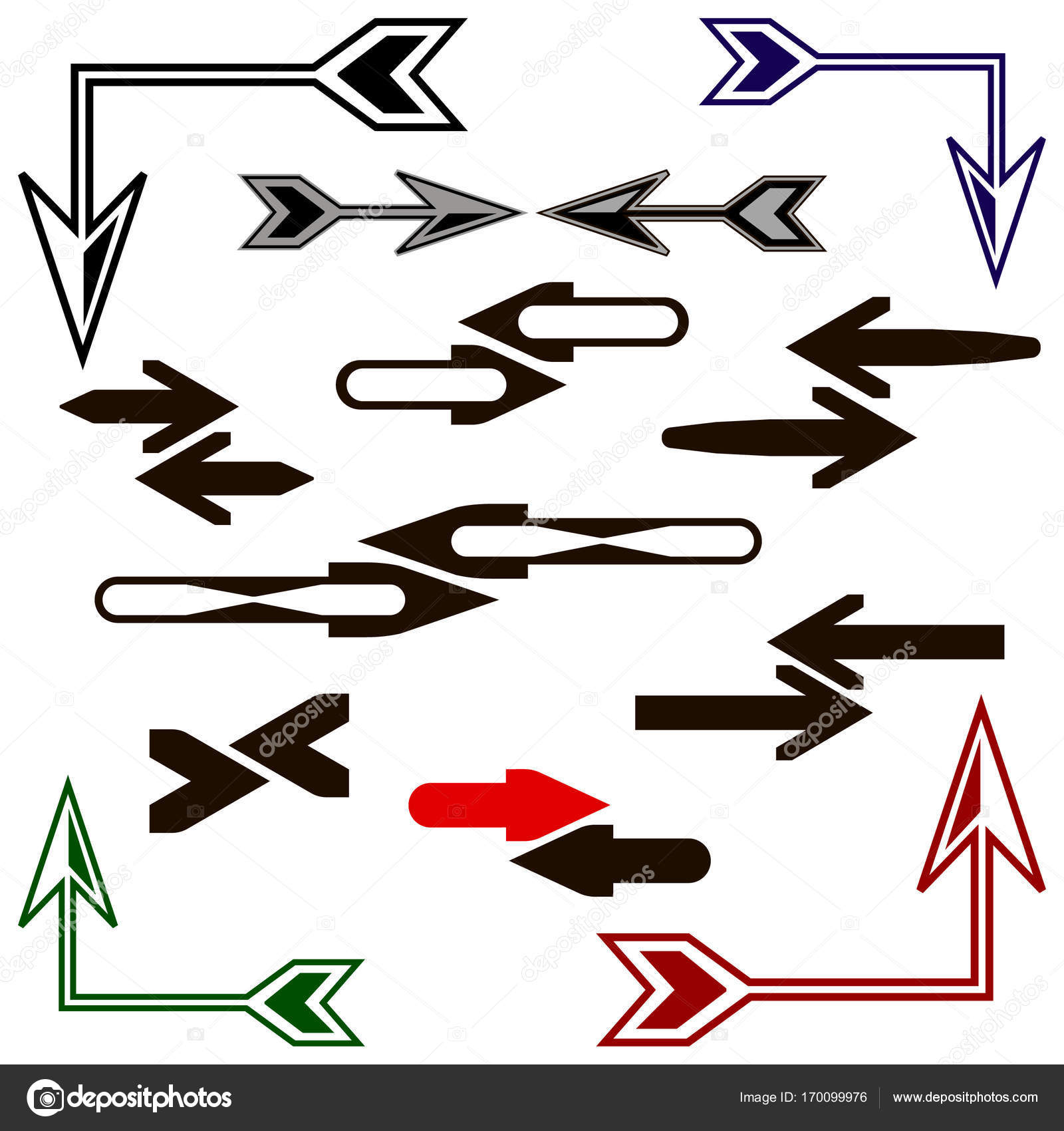 Pfeile stellen Icons. Piktogramm flachen, festen, mono, schlicht ...