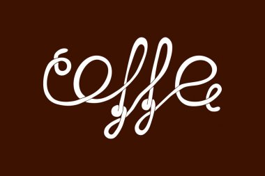 Bundle text cooffe drawing art line. Flat sketch coffee vector stock illustration