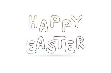 outline lettering happy easter, doodle coloring text, hand drawing vector stock, sketch illustration