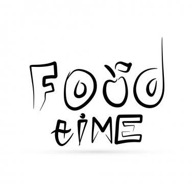 Bundle text food time for design cafe, print. Doodle kids hand drawing art line. Sketch vector stock illustration