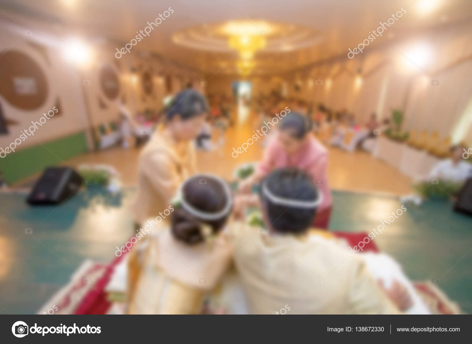 deda43e37625 Sfocato del matrimonio cultura cerimonia di nozze tailandese — Foto Stock